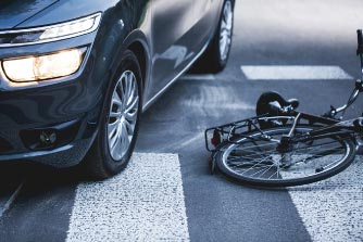 Car Collision With Bicycle Stock Photo